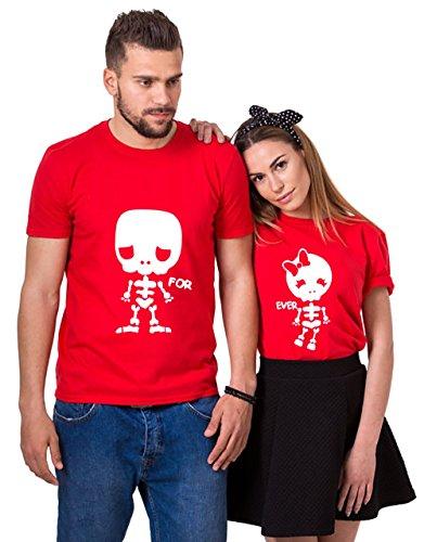 Couple T-Shirt Pärchen Set T-Shirt Paar Tshirt Für Zwei T-Shirt Für Paar (Rot, Men-M+WOMEN-2XL)