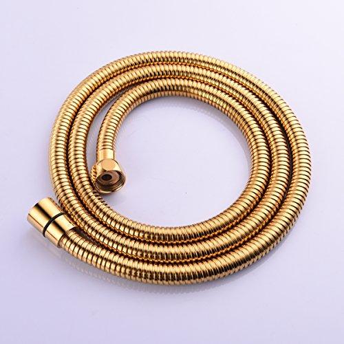 CIENCIA 1.5m (59-Zoll) Anti-Knick Flexibler Gold-Duschschlauch Edelstahl mit massivem Messing-Anschluss FHA018J