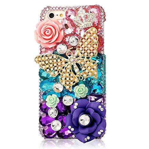 Preisvergleich Produktbild Spritech (TM) 3D handgemachte Mode Frauen Ipod Touch 6 Fall Luxus voller Diamant-Design Bling Rhinestone-Schmetterlings Crytal Blumendekor freie harte Caver iPod Touch 6
