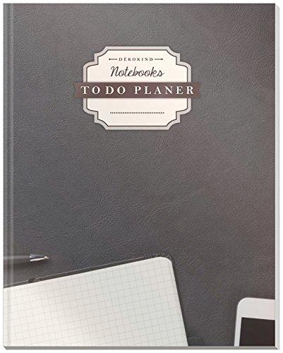 DÉKOKIND To Do Planer | DIN A4, 100+ Seiten, Register, Vintage Softcover | Dickes Checklisten Buch | Motiv: Arbeitsplatz