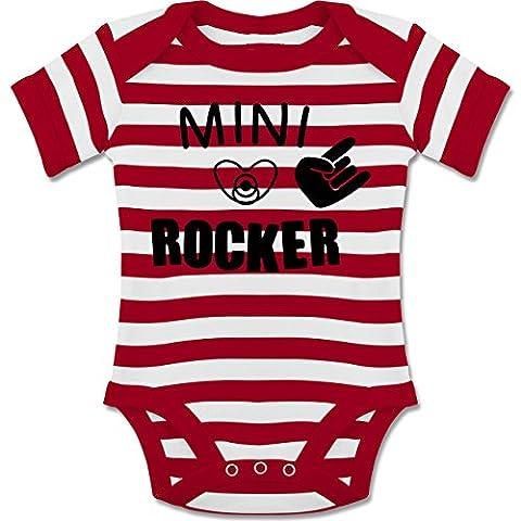 Strampler Motive - Mini Rocker - 6-12 Monate - Rot/Naturweiß - BZ10S - gestreifter kurzarm Baby-Strampler / Body für Jungen und Mädchen