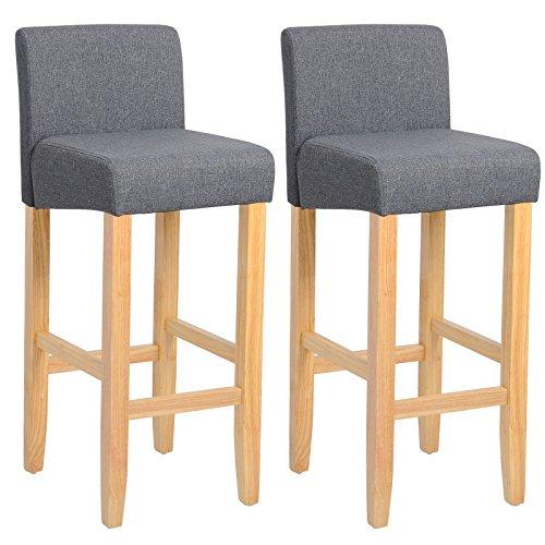 WOLTU® BH02dgr-2 Barhocker Bistrostuhl Holz Leinen Bistrohocker mit Rückenlehne, 2er Set, helle Beine aus Massivholz, Antirutschgummi, dick gepolsterte Sitzfläche aus Leinen, Dunkelgrau -