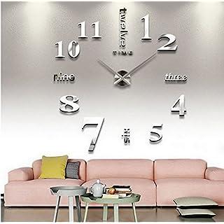 ACMEDE 3D DIY Wanduhren Lautlos Modern Acryl Wandtattoo Dekoration fürs Wohnzimmer Schlafzimmer (Silber)