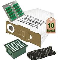 Spar Angebot 10 weiße Staubsaugerbeutel Filter Set und Duft tanne passend für Vorwerk Kobold VK 130 , Kobold VK 131 und 131 SC mit EB 350 / EB 351