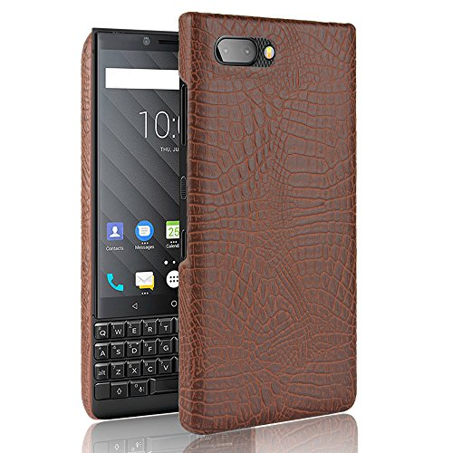 SHENYUAN-Fashion case BlackBerry Key2 Hülle, Classic Krokoprägung [Ultra] PU Leder Kratzfest PC Schutz Hard Case Cover für BlackBerry 2 Key2 / Keytwo (Farbe : Braun) -