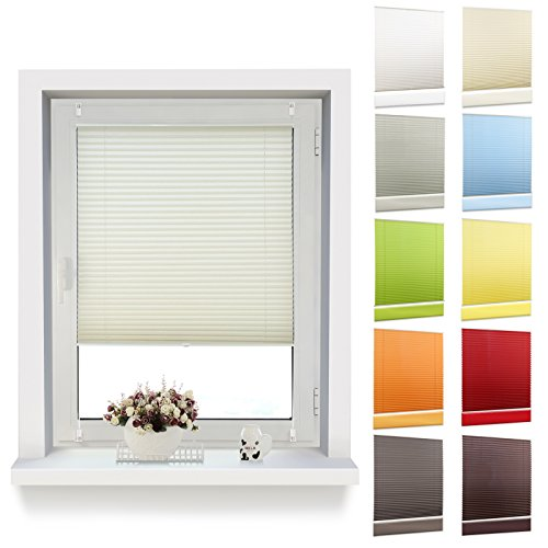 OUBO Plissee Klemmfix 80 x 120 cm (BxH) Beige, Jalousie Faltrollo ohne Bohren mit Klemmträgern für Fenster und Tur -