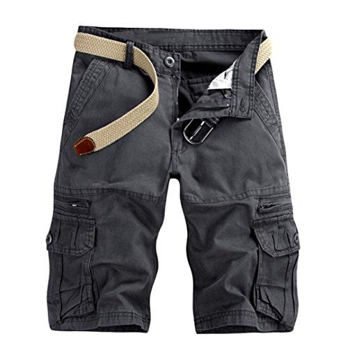 KEERADS Herren Shorts Sommer Cargo Chino Bermuda Vintage Kurz Hose mit Taschen (Kein Gürtel)(34,Dunkelgrau) Vintage Chino