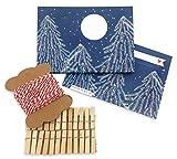 Adventskalender zum selbst Befüllen und Selbermachen für Erwachsene | Set inkl. 24 Briefumschläge, 10 m Bastelschnur und 24 Miniklammern aus Holz | Blau Rot Weiß