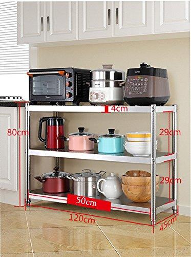 3 Tier Kleine Küche Mikrowelle Stehen Edelstahl Mini Kühlschrank Toaster Rack Lagerung Regal Küche Organisation ( größe : 120×45×80cm ) (Mini-kühlschrank Und Eine Mikrowelle Stehen)