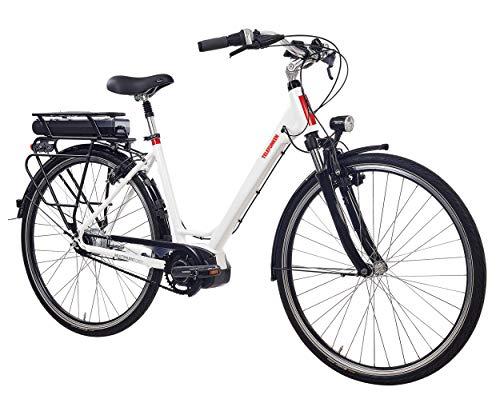 Telefunken E-Bike Elektrofahrrad Alu, weiß, 8 Gang Shimano Nabenschaltung - Pedelec Citybike leicht, Shimano Steps Mittelmotor 250W, Reifengröße: 28 Zoll, Multitalent C900