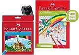 Faber-Castell Étui en carton comprenant 60crayons de couleur, 24 Stifte + Block + Spitzer