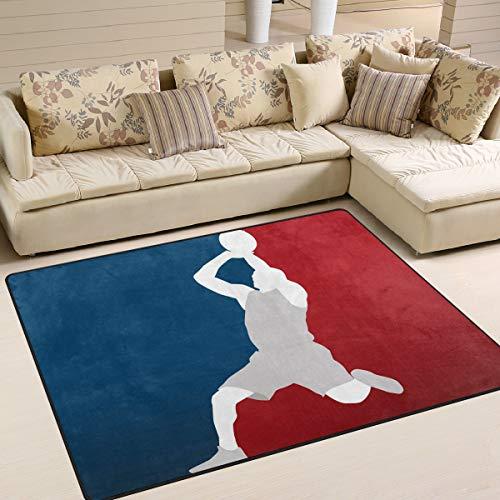 Use7 Teppich, Motiv Basketball-Spieler, für Wohnzimmer, Schlafzimmer, Textil, Multi, 203cm x 147.3cm(7 x 5 feet)