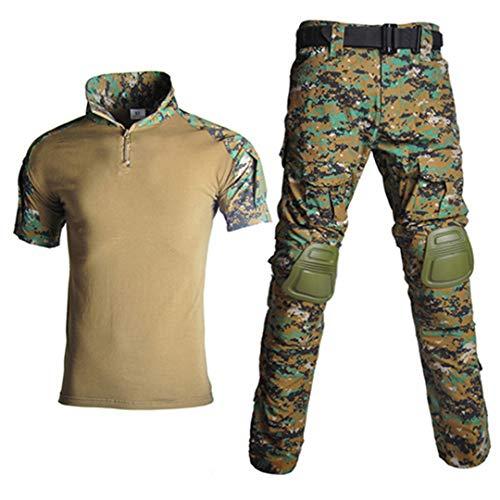 JUNSHIFU Men Tactical Camouflage Uniform Militärische Kleidung Men Army Suits Combat Shorts Digital XL - Leinwand Weites Bein