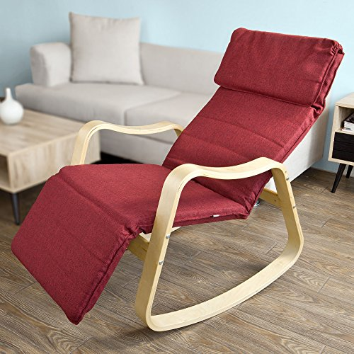 SoBuy® Sedia a dondolo,poltrona con Poggia gambe,Sdraio Relax,in betulla, FST37-R - Reclinabili Computer Sedie