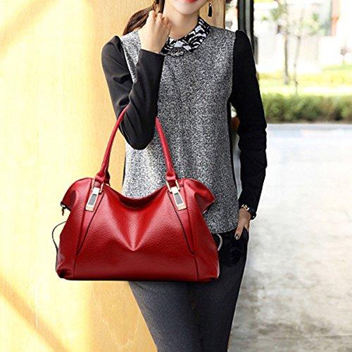 Damen PU Leder Laptoptasche Aktentasche Umhängetasche Messenger Taschen Multicolor Red