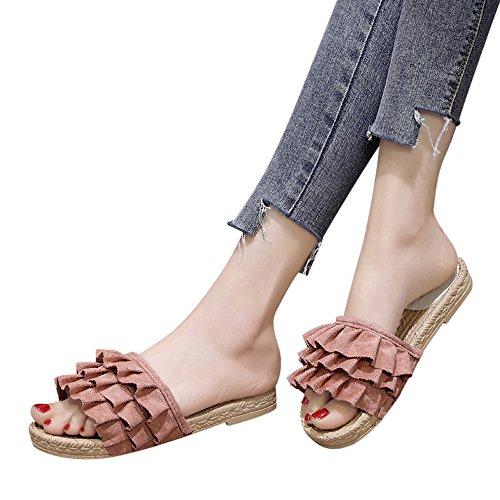WINWINTOM Flip Flops Damen Sale Erwachsene Dusch Badeschuhe Frauen Mode Einfarbig Runde Kappe Low Heel Sandals Slipper Beach Schuhe Rosa 40