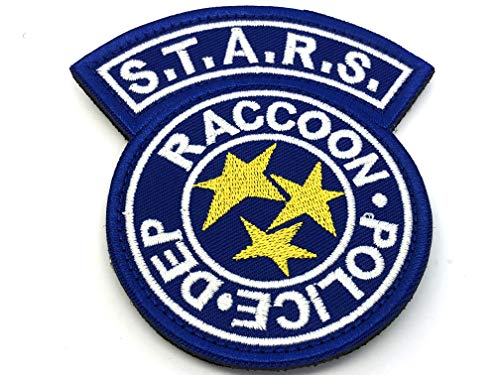 Patch Nation Stars Racoon Police DEPT Resident Evil Gestickte Airsoft Klettverschluss-Flecken (Blau) -