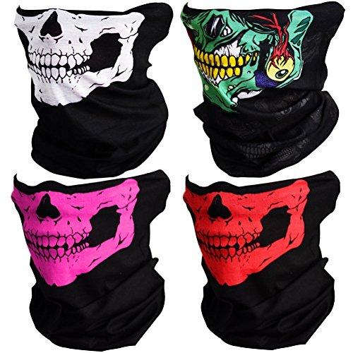 4pcs multifunzione teschio ghost skull maschera mezzo cranio seamless bandana facciale moto halloween face shields con istruzioni usura (50 * 25 cm, 4 pezzi (bianco & rosso & verde & bianco))