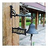 Qilo Moldeada rústica de Hierro Timbre de la Puerta, decoración Retro, Metal Decorativo for Montaje en Pared de la Puerta la Llamada Bell del carillón de Viento Colgante por un Patio del jardín