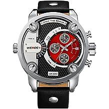 Alienwork DualTime Montre quartz Fuseaux horaires multiples quartz XXL Oversized Cuir rouge noir OS.WH-3301-5