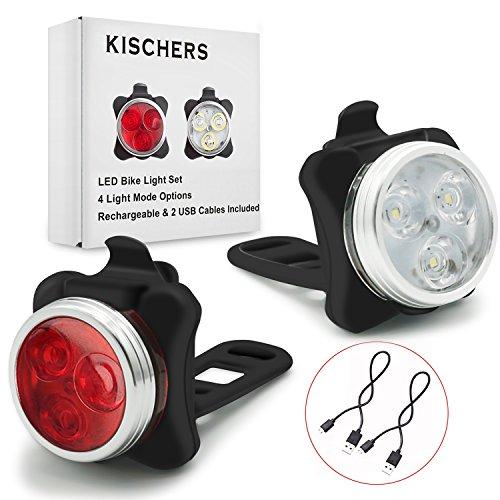 Fahrradlicht LED Set, Wasserdicht Fahrradbeleuchtung, USB Wiederaufladbar Fahrradlampe (Vorne & Hinten Lampen) set, 4 Licht-Modi, 2 USB-Kabel