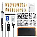 Brandmalerei Lötkolben Set, LIUMY 39PCS Brandmalkolben mit einstellbarer Ein/Aus-Schalte, Holzbrandmalerei mit Branded Woods, Solder Head, Pencils, Sharpener, Dies Drawing Paper, Iron Rack für Holz