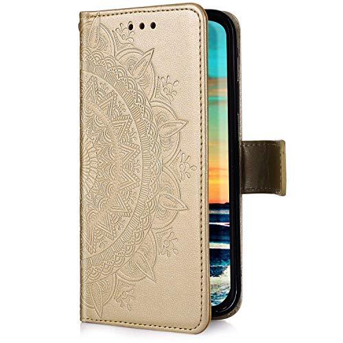 Uposao Kompatibel mit Samsung Galaxy A30 Hülle Handytasche Handyhülle Mandala Blumen Muster Klapphülle Flip Case Cover Schutzhülle Lederhülle Brieftasche Leder Tasche Kartenfach,Gold -
