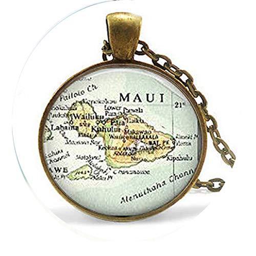 bab Maui Hawaii Ornament Geschenk, Weihnachtsschmuck, Hawaii Landkarte Charm-Halskette, Bibelzitat, Anhänger (Halloween-karte-sprüche Für Lehrer)