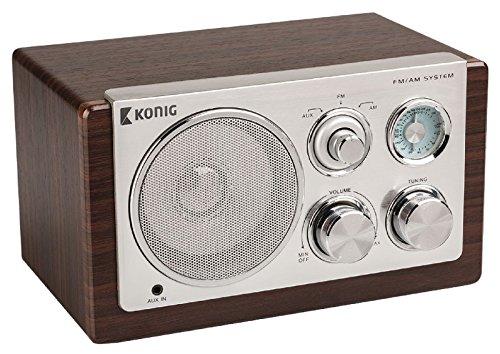 Radio Design Retro Vintage AM FM portátil madera oscura entrada a MP3Smartphone