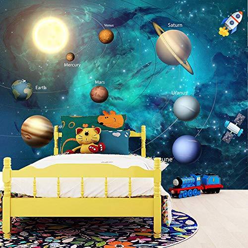 3D Papel Pintado Espacio Universo Habitación De Los Niños Cielo Estrellado Planeta Papel Pintado 3D Estéreo Dibujos Animados Fotomurales Papel De Parede Infantil 3D Fresco 150 * 105Cm