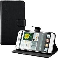 kwmobile Funda para Huawei Ascend G7 - Wallet Case plegable de cuero sintético - Cover con tapa tarjetero y soporte en negro
