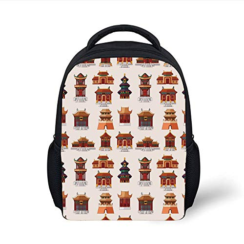Kids School Backpack Ancient China Decorations,Cartoon Style Antique Houses Pattern Ethnic Asian Design Elements,Multicolor Plain Bookbag Travel Daypack Womens Plain Front Chino