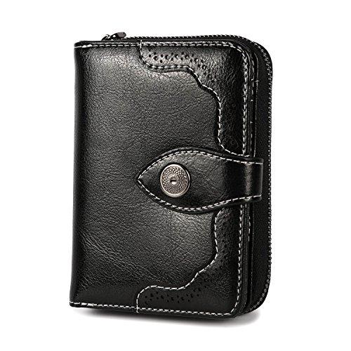f06c77e46a Portafoglio donna RFID Mini pieghevole pieghevole portafoglio in vera pelle  Porta carte pieghevole di grande capacità di lusso con cerniera-Nero 3