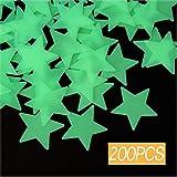 Leuchtende sterne,200 Stück Leuchtsticker Wandtattoo,Fluoreszierend Wand Aufkleber Plastik,für fluoreszierend Leuchtaufkleber für Kinderzimmer