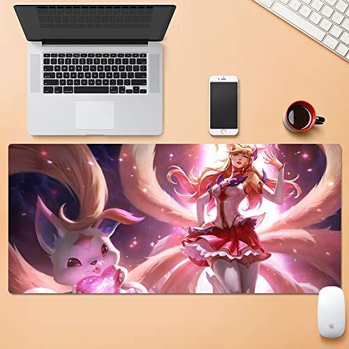 ASF15 Ahri Die Neun-tailed Fox Rosa Wächter von The Star Gaming Mouse Pad League of Legends PC Big Table Mat Größe bequemes Gefühl Schlupfsperre Laptop-Tastatur-Pad -