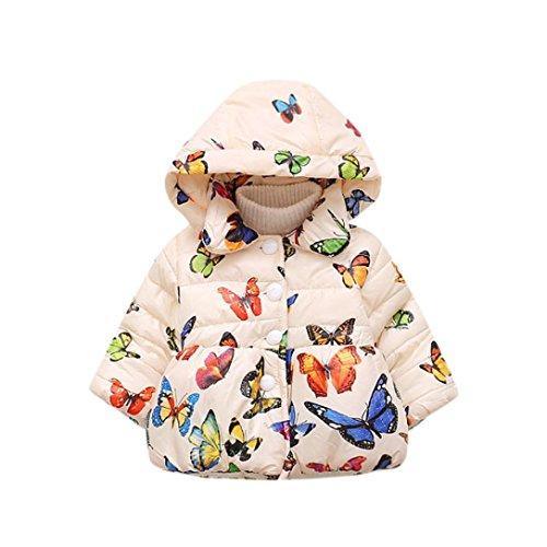 Babykleidung URSING Baby Mädchen Herbst Winter Mit Kapuze Schmetterling Mantel Mantel Jacke Dick Warm Mantel Kleidung übergang Steppjacke Prinzessin Mädchen Elegant Baumwolle gefülltOutwear (Beige, 12-18M) (18-24M, Beige) (Mädchen Winter Mantel 14 16)