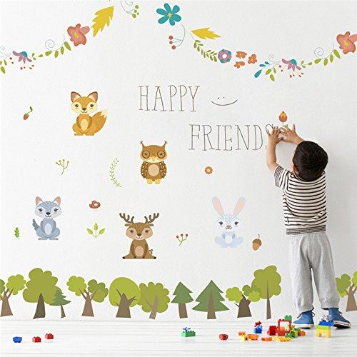 kuamai Gerne Freunde Wald Tiere Baum Wandaufkleber Für Kinder Zimmer Tv Hintergrund Sofa Home Decor Wand Aufkleber Poster Wandbild