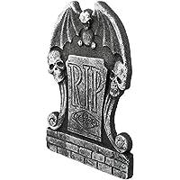 Decoración de lápida de espuma de Halloween tumba RIP Cráneo de piedra de la casa encantada Lápida decoración espeluznante decoración de jardín de césped de Halloween decoración 38 * 26,5 * 2 CM