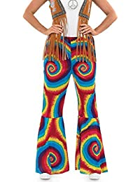 Ladies Bold Multi Coloured Print 1960s Hippy Hippie Flared Flares 1960s Trousers Fancy Dress Party Costume 8-30 Plus Size