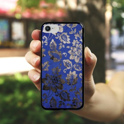 Apple iPhone X Silikon Hülle Case Schutzhülle Ornament Blumen Silber Hard Case schwarz
