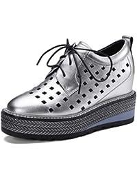 cbe300e2f23b9e Frauen Leder Plateauschuhe Lace-up Hohl Schuhe Freizeitschuhe (Farbe    Silber