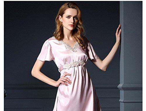 lpkone-Dame sexy dentelle pyjama rouge, de vêtements et de tenues de chemises de soie de luxe en soie taille libre de glace,Camel Bisque