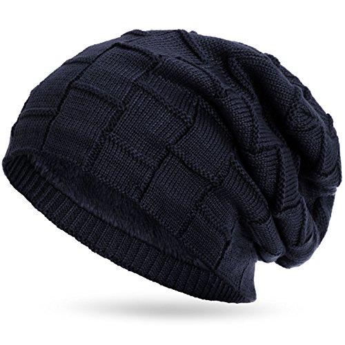 Compagno warm gefütterte Beanie Wintermütze Flechtmuster unifarben oder meliert mit weichem Fleece-Futter Mütze, Farbe:Marineblau