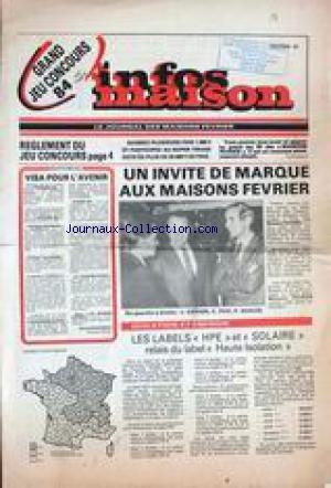 INFOS MAISON du 01/01/1984 - VISA POUR L'AVENIR PAR MICHEL MARCIREAU - LES MAISONS FEVRIER - J.DERIEN - C. PUX ET P. QUILLES - ISOLATION ET ENERGIE. par Collectif