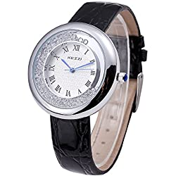 Kezzi Damen Armbanduhr roemische Ziffern Strass Lederband silber schwarz