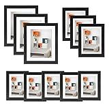 Voilamart Bilderrahmen 11er Set Fotorahmen mit Kunststoff Bildabdeckung Foto Collage Wandbefestigung Familienfotorahmen hängende Anzeige Wanddekoration,Verschiedene Größe,Schwarz