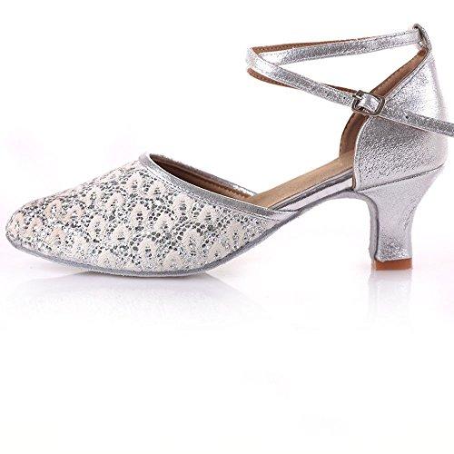 Wxmddn Chaussures De Danse Latine Blanc Grille Chaussures De Danse Femme Fond Mou Chaussures De Danse Jazz Ballet Chaussures De Danse Plaid Blanc Paillettes