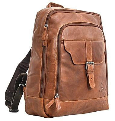 "Gusti Cuir studio ""Niki"" sac à dos en cuir avec doublure imperméable sac à dos 15,6"" daypack cuir de buffle besace en cuir sac en cuir grand vintage unisexe marron 2M40-20-2wp"