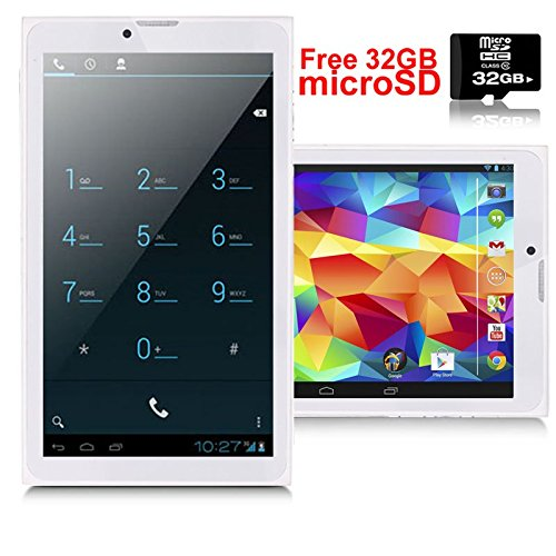 Indigi® Android 4.4 Tablet PC + 3G Unlocked Phone [WiFi + Bluetooth Sync + DualCore CPU] + Free 32gb microSD