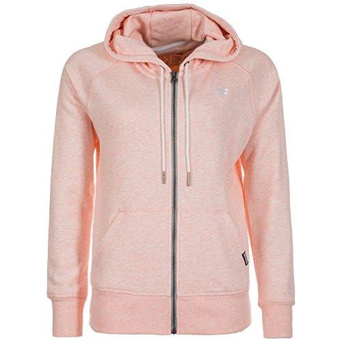 New Balance Damen Classic Full Zip Hoodie Medium Sunrise Glow Heather (Full Sweatshirt Brust-tasche Zip)